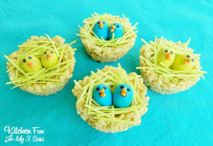 Rice Krispie Treat Baby Bird Nests