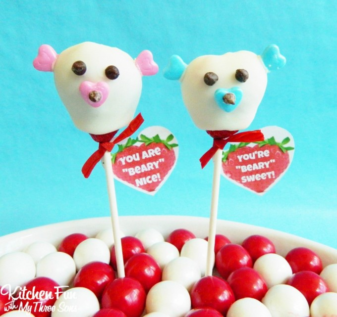 "Valentine's Day Chocolate Covered Strawberry Bears with a Free Printable ""You are Beary Sweet"" from KitchenFunWithMy3Sons.com"