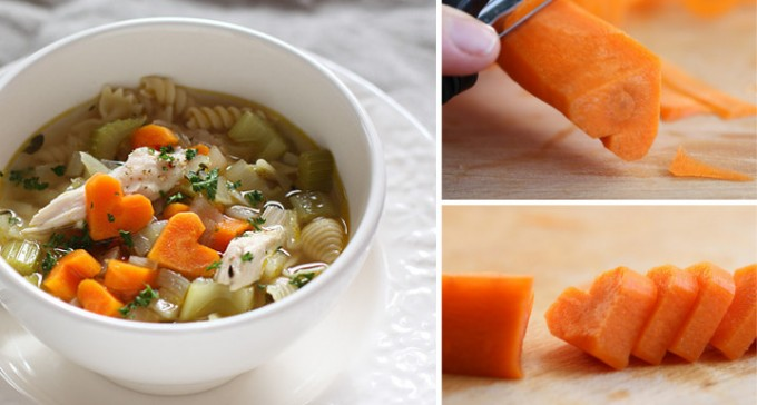 Chicken Noodle Soup with Heart Shaped Carrots for Valentine's Day!
