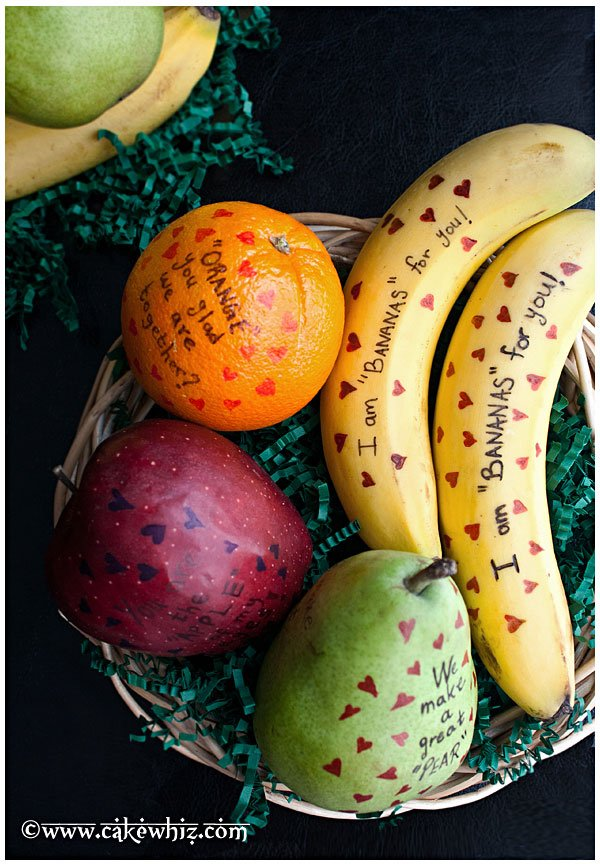 Valentine's Day Fruit with Messages