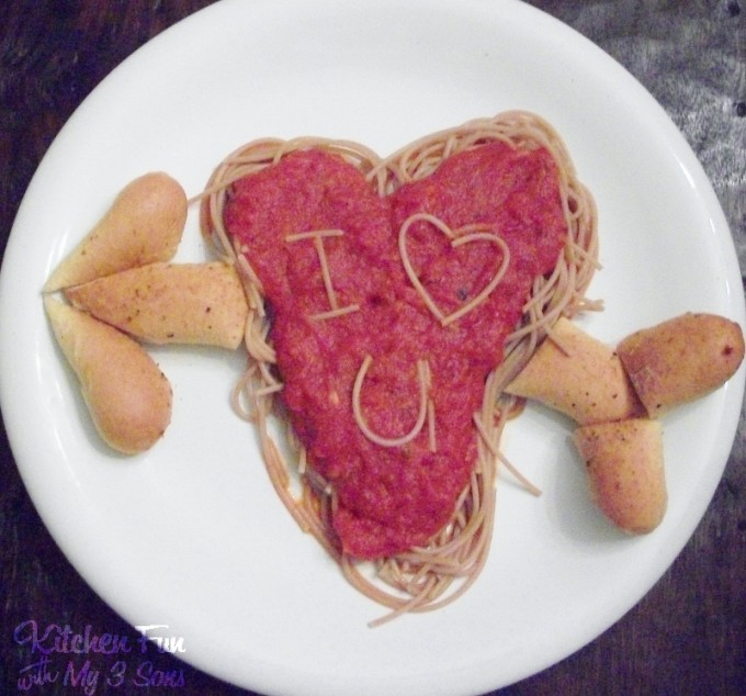 Valentine's Day Heart Spaghetti from KitchenFunWithMy3Sons.com