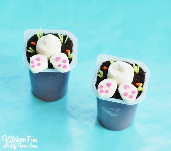 Easter Pudding Cups including Free Printables from KitchenFunWithMy3Sons.com