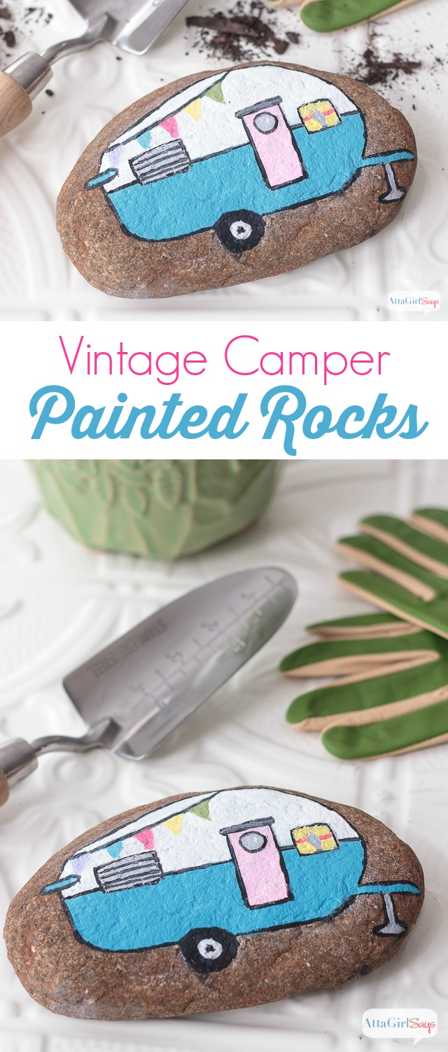Vintage Camper Painted Rocks