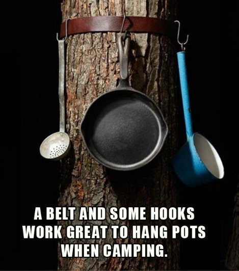 A Belt & some Hooks work great to Hang Pots & Pans when Camping! More awesome camping ideas at KitchenFunWithMy3Sons.com