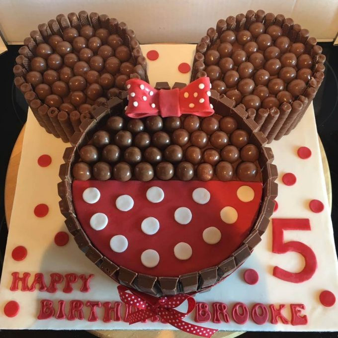 Minnie Mouse Kit Kat Cake...these are the BEST Mickey Mouse Ideas!