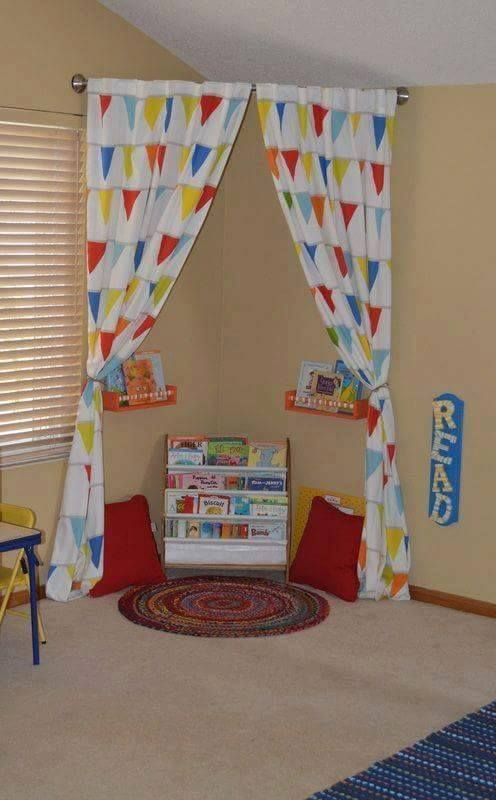 Turn a Curved Shower Rod with a Curtain into a Reading Nook...these are the BEST Reading Nook Ideas!