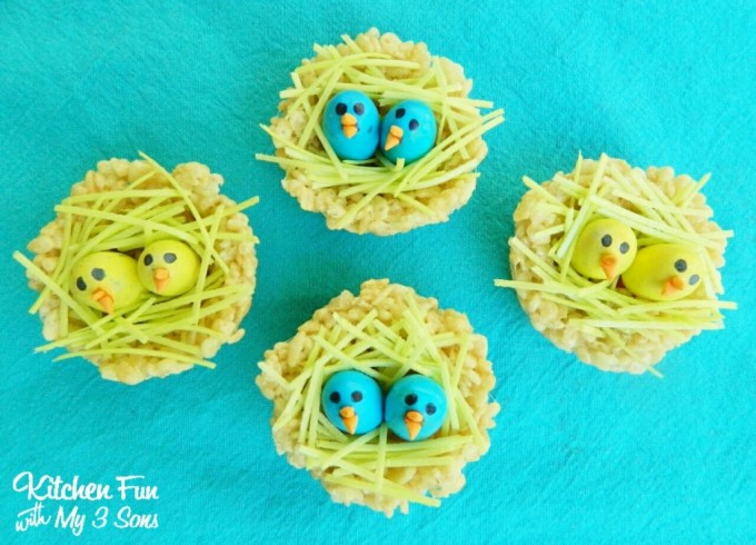 Spring Rice Krispie Baby Bird Nests from KitchenFunWithMy3Sons.com