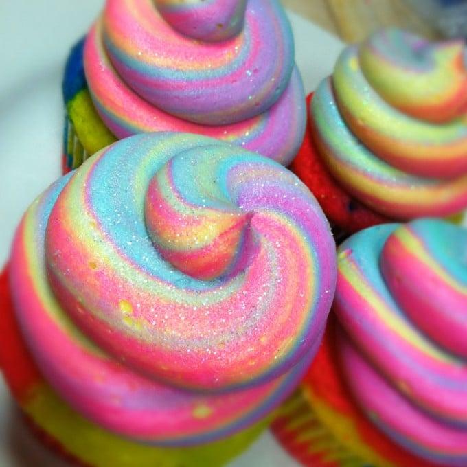 Fantasy Rainbow Swirl Cupcakes