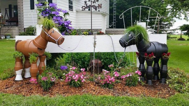 diy clay pot horse garden planters - Christmas Horse Yard Decorations