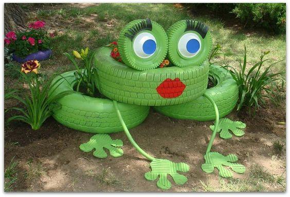 Garden Frog Tire Planters