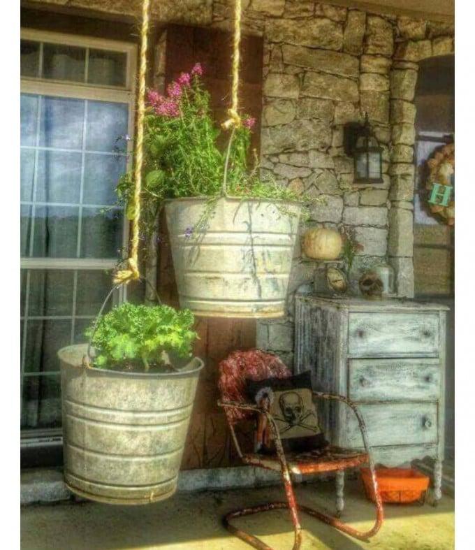 Rustic Hanging Bucket Plants