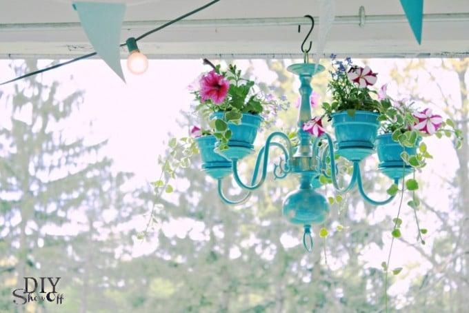 DIY Chandelier Flower Planters