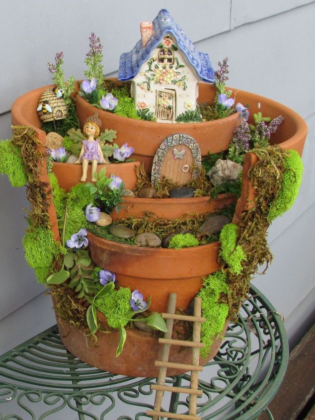 broken pot fairy garden - Flower Garden Ideas In Pots