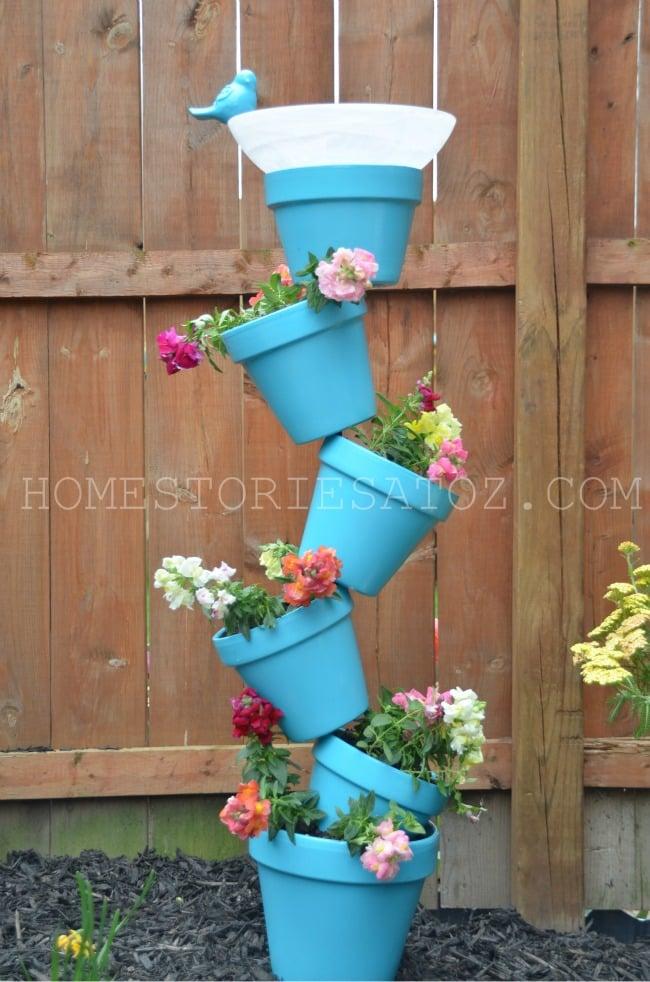 Topsy Turvy Garden Pot Planters & Bird Bath