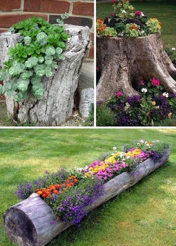 tree stump garden planters - Diy Garden Ideas