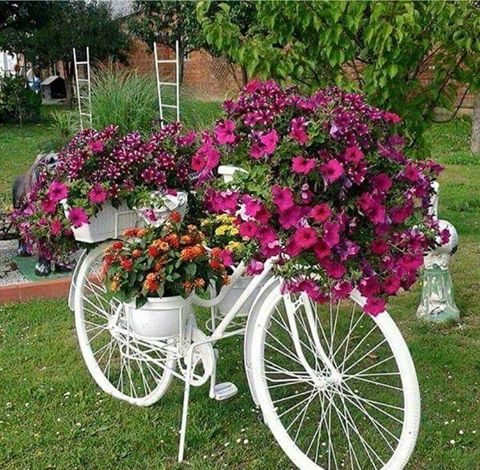 white bicycle planterthese are the best garden diy yard ideas