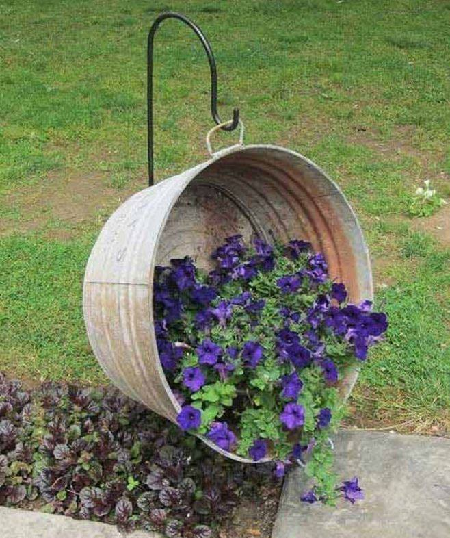 Turn A Metal Wash Tub Into A Hanging Planter...these Are The BEST