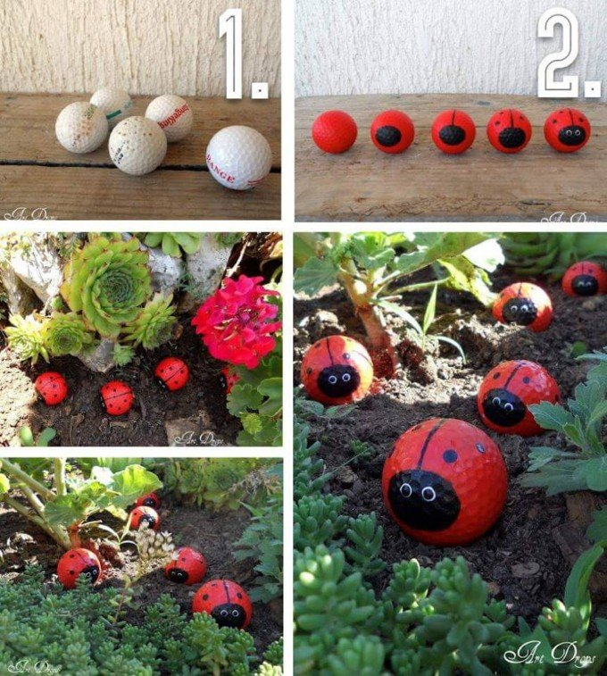 painted golf ball garden lady bugs