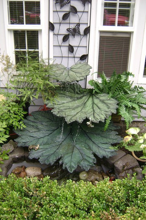Concrete Leaf Water Fountain...these are the BEST DIY Garden Ideas!