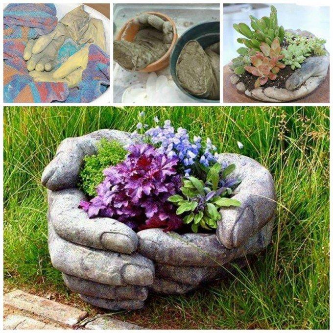 Diy Gardening Ideas tree stump garden planters Diy Concrete Garden Hands