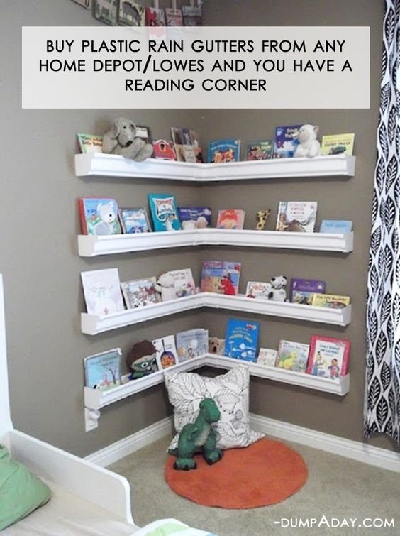 DIY Rain Gutter Bookshelves Reading Nook & The BEST DIY Reading Nook Ideas! - Kitchen Fun With My 3 Sons