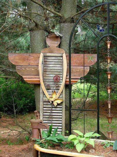 Garden Shutter Angel Yard Art
