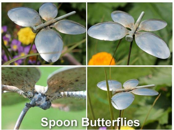 Garden Art Ideas diy junk garden art Spoon Butterflies Garden Art