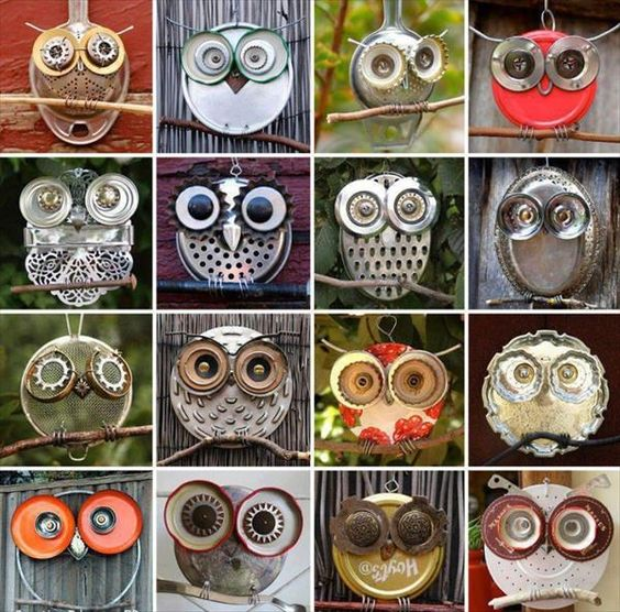 DIY Old Junk Yard Art Owls
