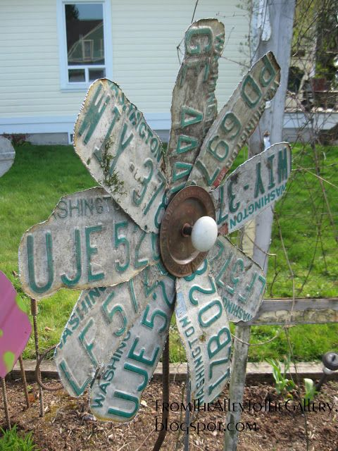 License Plate Flower Yard Art