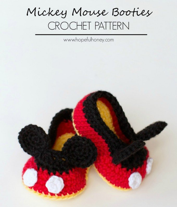 Mickey Mouse Crochet Baby Booties Pattern