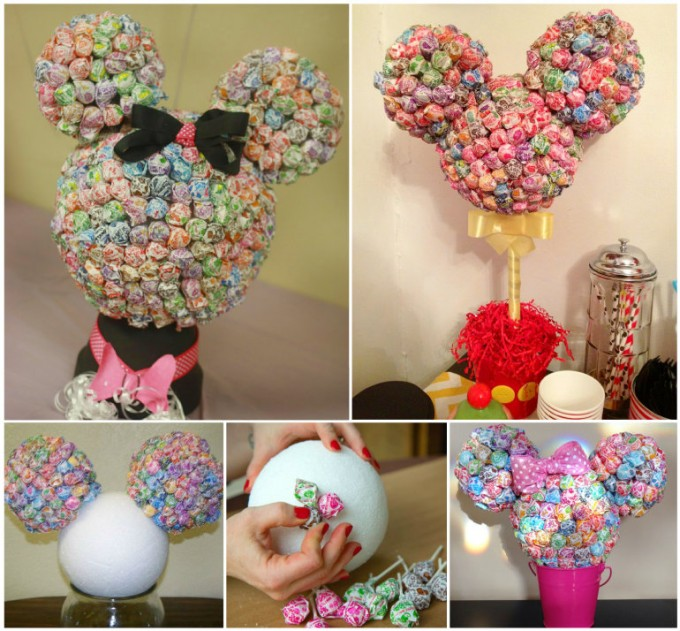 Kids Party Craft Ideas Part - 17: Mickey U0026 Minnie Mouse Lollipop Centerpiece For A Disney Party!