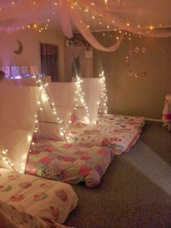 Tent Slumber Party with Lights...these are the BEST Party Ideas!