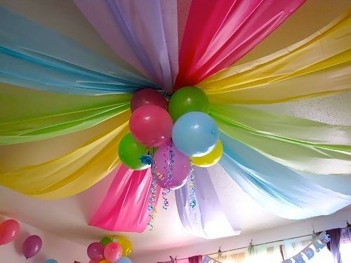 balloons plastic table cloth ceiling party decoration - Party Decorating Ideas