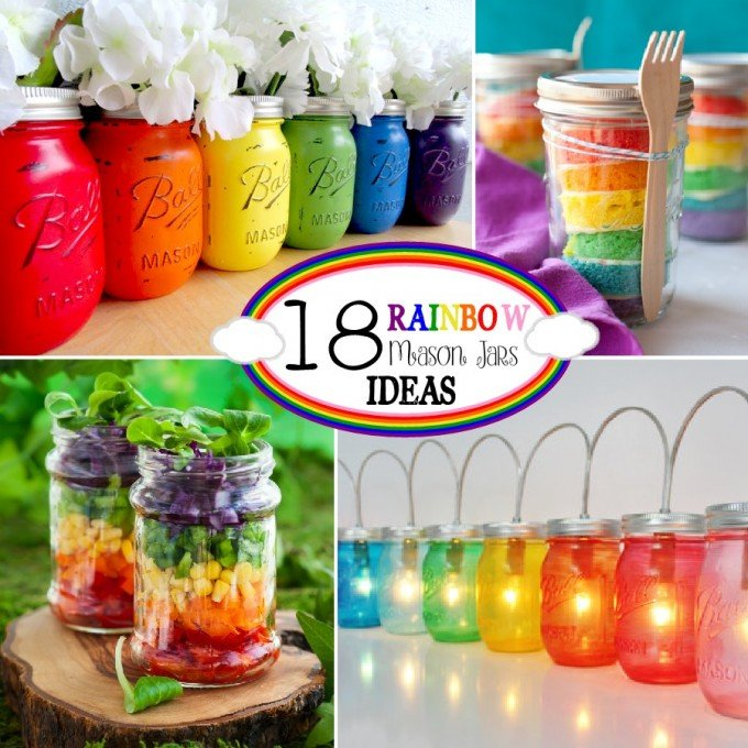 Rainbow Mason Jar Ideas