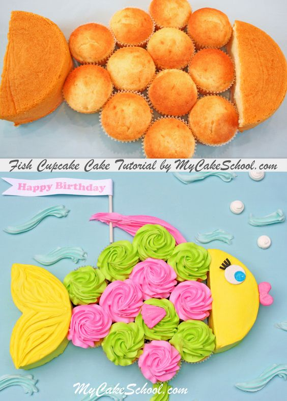 Fish Pull Apart Cupcake Cake