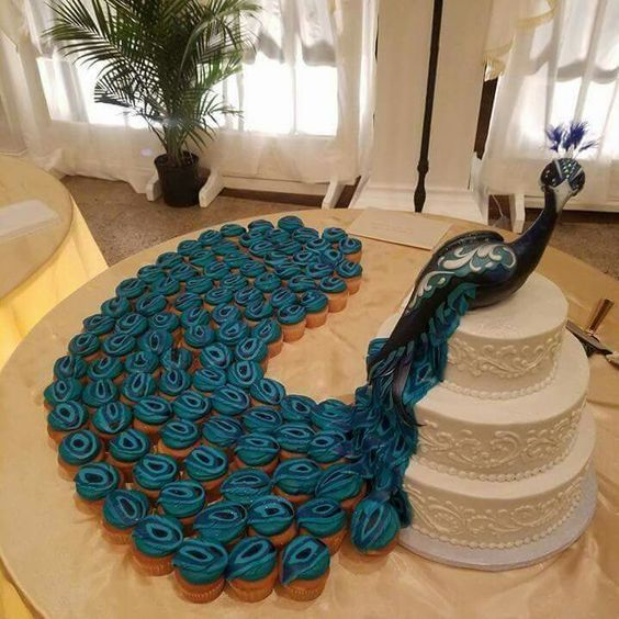 Peacock Cupcake Wedding Cake....these are the BEST Pull-Apart Cake Ideas!