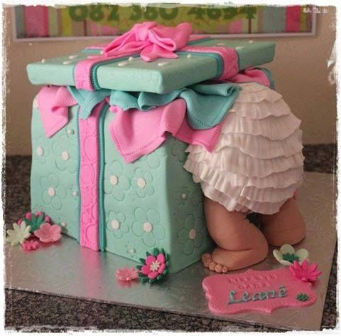 Baby in a Gift Box Cake...so cute!
