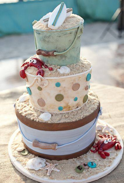 Beach Pail Wedding Cake.....these are the BEST Cake Ideas!