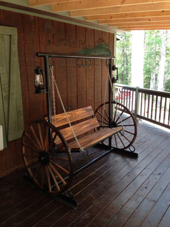 Wagon Wheel Porch Swing