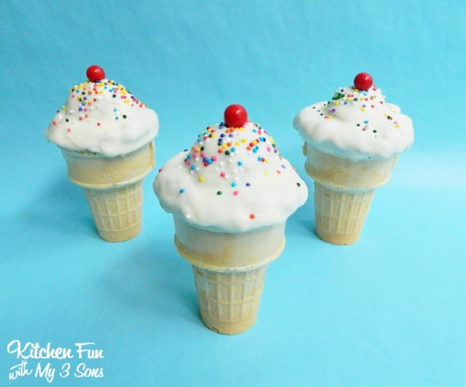 Ice Cream Cake Pop Cones from KitchenFunWithMy3Sons.com