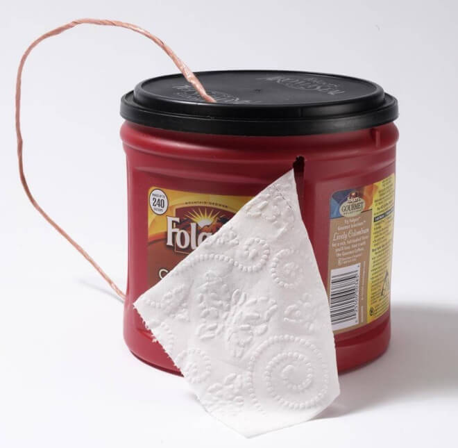 Store Toilet Paper In A Coffee Container For Camping Trips