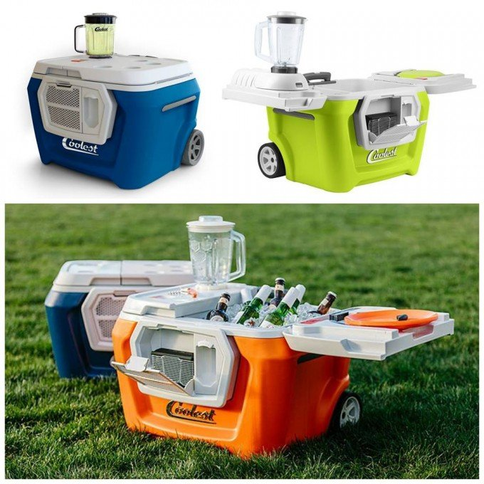The Coolest Cooler With A Blender LED Lights And Blue Tooth Speaker