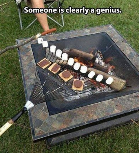 Grill Hamburgers & Marshmallows on a Rake for Camping Trips!