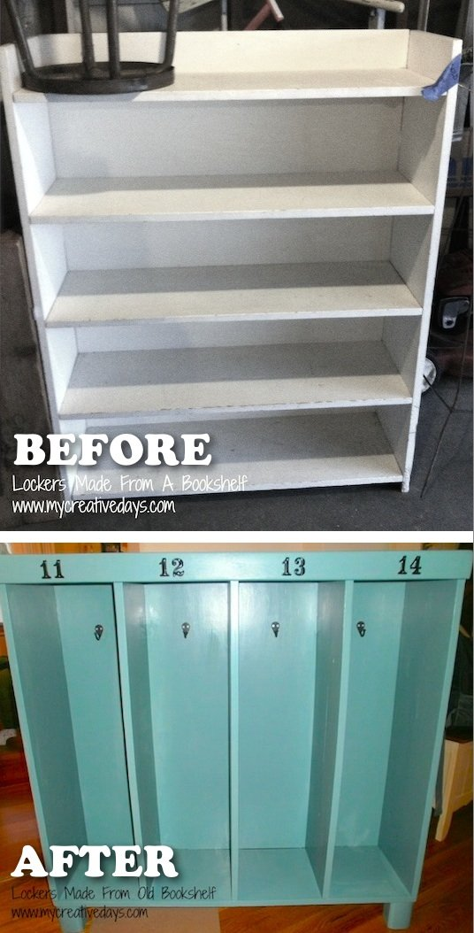 Turn an Old Bookshelf into Lockers for the Kid...awesome Upcycle Ideas!