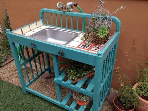 Turn An Old Changing Table Into A Outdoor Potting Bench Awesome Upcycle Ideas
