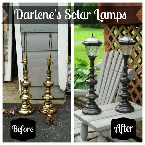 Turn Old Lamps into update Solar Lamps....awesome Upcycled Ideas!