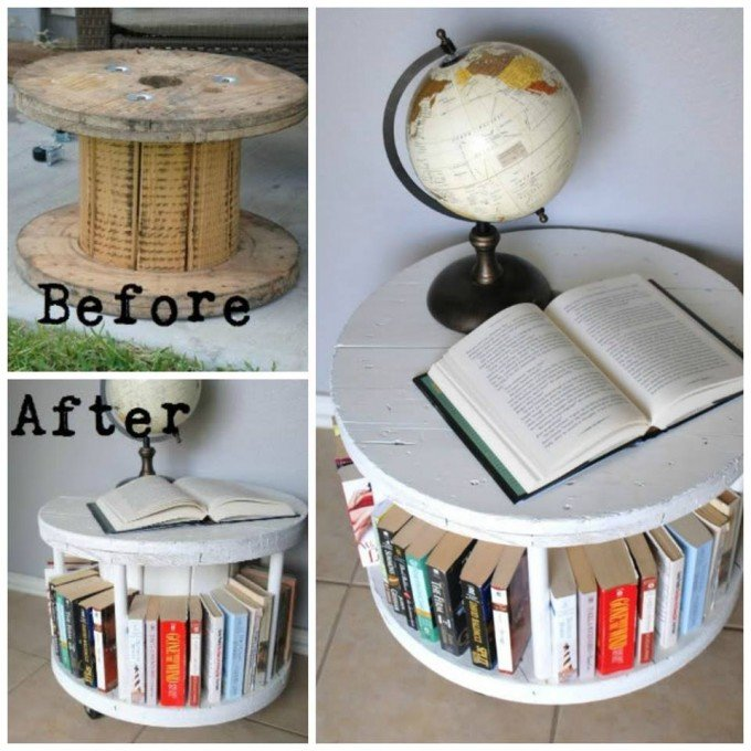 Turn a Cable Spool into a Bookshelf...awesome upcycle idea!