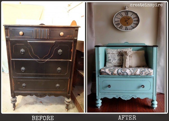 Nice Turn An Old Dresser Into A Day Bench...awesome Upcycled Furniture Ideas!