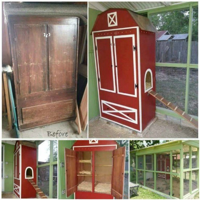 Turn An Old Armoire Into A En Coop These Are Awesome Upcycled Repurposed