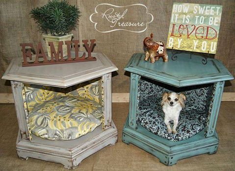 An Old End Table Into A Dog Bedawesome Upcycled amp Repurposed Ideas